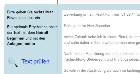 Textfeld Für Das Onlin Tool Bewerbungswissennet