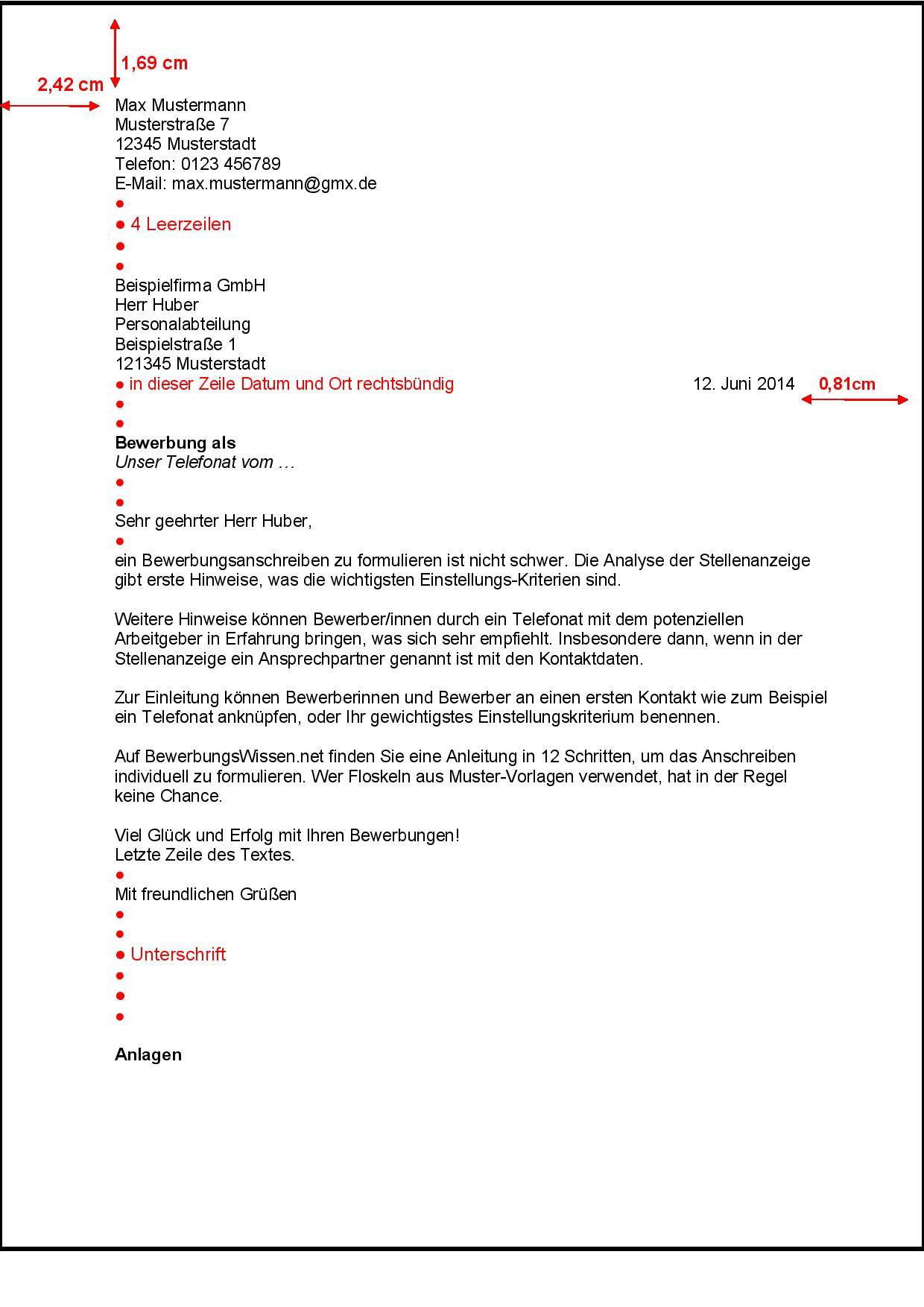 Das Layout des Bewerbungsschreibens nach DIN 5008