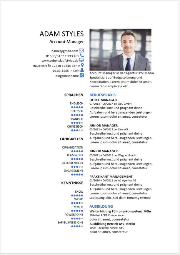 Lebenslauf Muster 26 Bewerbungswissennet
